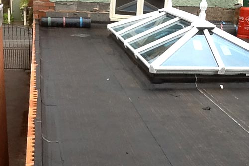 Repair to flat roofing with orangery