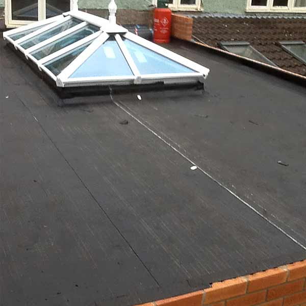 Felt roofing after being installed